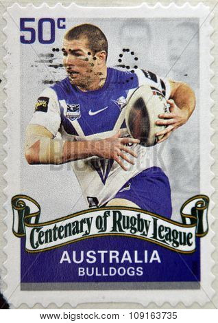 AUSTRALIA - CIRCA 2008: A stamp printed in australia dedicated to centenary of rugby league