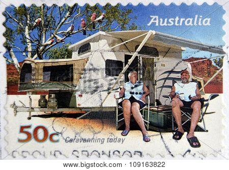 AUSTRALIA - CIRCA 2007: A stamp printed in australia shows Family enjoying a caravan