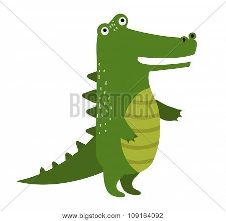 Vector cartoon cute crocodile isolated on white background. Wild vector crocodile. Jungle green crocodile. Wild crocodile silhouette. Vector animals. Crocodile character. Vector animals
