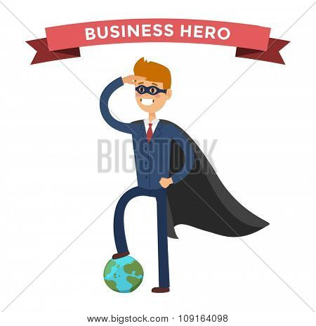 Superhero business man vector. Super people in business illustration. Super hero business situations, super hero office life. Superhero flying, business success people. Team leader, boss, hero