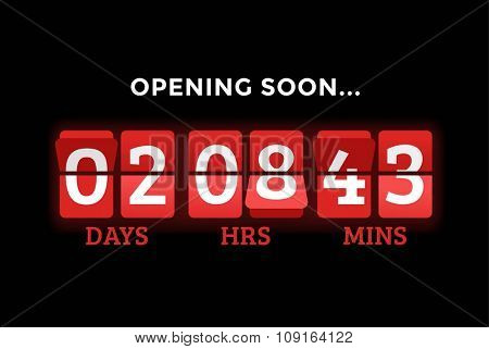 Countdown clock digits board panels timer. Website timer counter. Sale opening soon. New year, Christmas timer sale. Vector mechanical timer. Black Friday timer. Vector website timer banner