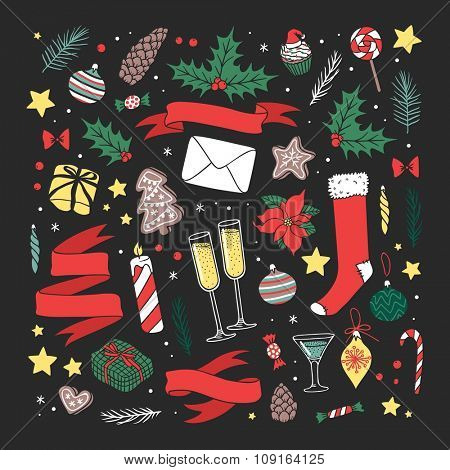 Vector Christmas greeting card illustration. Christmas Holidays lettering winter ribbons decoration. Hand draw style New Year background. Christmas background. Christmas holiday greeting cards poster