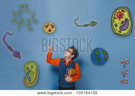 retro style teenage boy teenager with glasses shows a finger upw