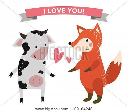 Cute cartoon animals couples fall in love banner vector illustration. Vector animals wedding. Different animals like people love togetherness concept. Vector animals, pets, wild. Cow, fox, heart, love