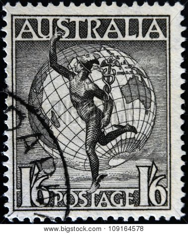 AUSTRALIA-CIRCA 1949: A stamp printed in Australia shows Hermes and the Globe circa 1949