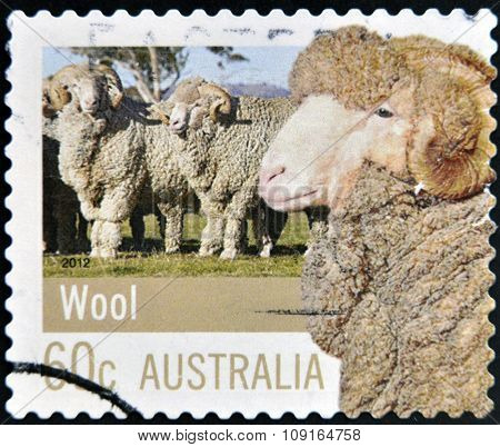 AUSTRALIA - CIRCA 2012: A stamp printed in Australia dedicated to Farming Australia shows wool