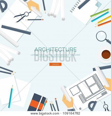 Vector illustration. Flat architectural project. Teamwork. Building ,planning. Construction. Pencil,