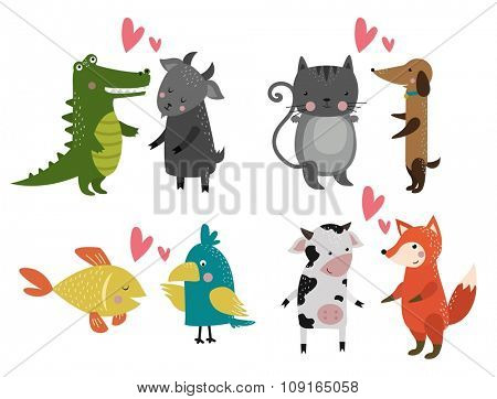 Wild animal zoo banner vector cartoon set. Wild vector animals. Jungle animals pets. Vector animals. Fox and lion. Monke, cat and dog, elephant, crocodile. Fish and bear, parrot, cow, goat. Sea