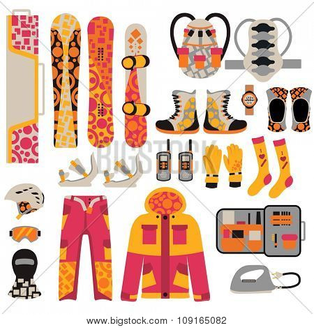 Snowboard sport clothes and tools elements. Snowboarding elements isolated on white background. Snowboard vector cloth, snowboard jacket, snowboard board. Snowboard winter sport equipment