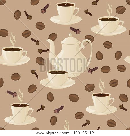 Seamless pattern with coffee pot, cups and coffee beans.