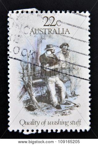AUSTRALIA - CIRCA 1981: A stamp printed in Australia shows Quality of Washing Stuff circa 1981