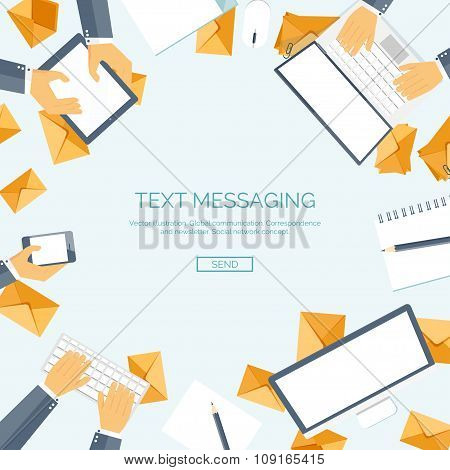 Vector illustration. Social network. Global communication, chatting. New message. Web chat.