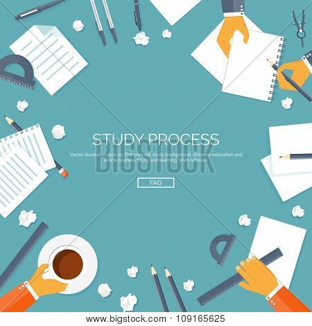 Vector illustration. Flat backgrounds set. Distance education, learning. Online courses, web school.