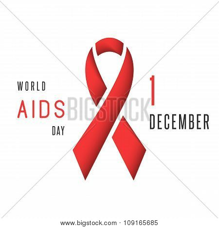 Aids World Day Poster, Mockup Red Ribbon  Stop Virus Symbol Awareness, 1St December Immune Syndrome