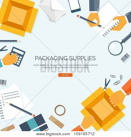 Vector illustration. Packaging supplies. Delivery. Carton box. Loupe, diary,papers.