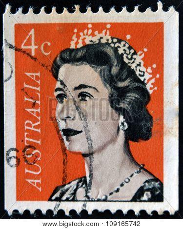 AUSTRALIA - CIRCA 1966: A Stamp printed in Australia shows the portrait of a Queen Elizabeth II