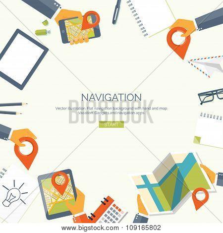 Vector illustration. Flat backgrounds set. Navigation,traveling.  Map pointer,location finding. Web