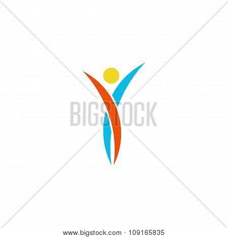 Human Logo Abstract Dance Body, Fitness Sport Man Winner, Mockup Idea Modern Sport Rock'n'ro