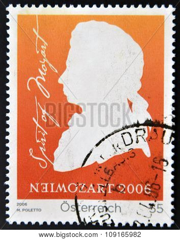 AUSTRIA - CIRCA 2006: a stamp printed in Germany shows Wolfgang Amadeus Mozart