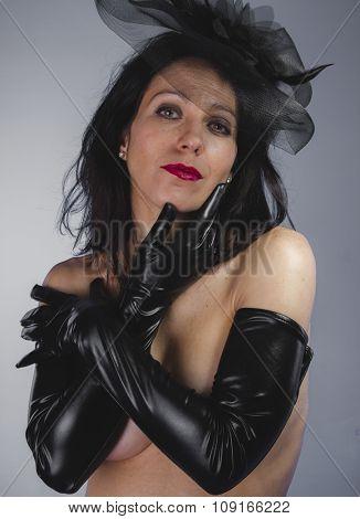 Caucasian, widow with sensual look, dangerous woman