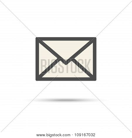 Envelope Contour Symbol With Shadow, Mail Icon
