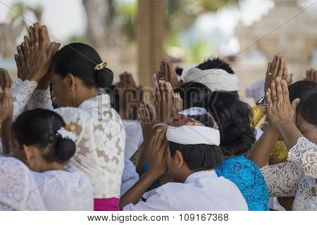 Bali, Indonesia - November02, 2015 : Unidentified Indonesian People Go To Celebrate Balinese Ceremon