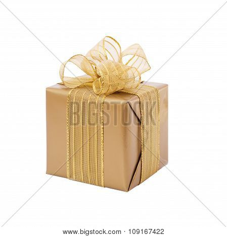 Gold gift box with ribbon and bow. Present.