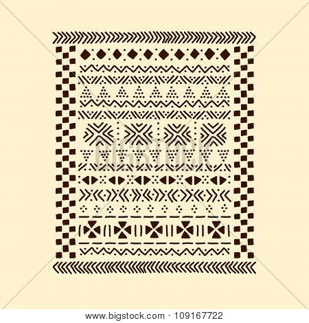 Brown and beige traditional african mudcloth fabric print, vector