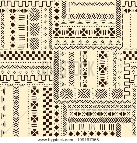 Beige and brown traditional ethnic african mudcloth fabric seamless pattern, vector