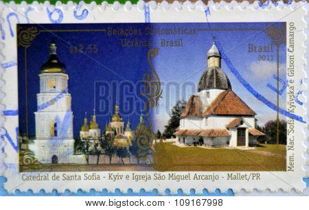 Stamp printed in Brazil dedicated to diplomatic relations between Brazil and Ukraine shows St. Sofia