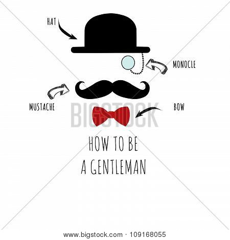 Raster Illustration of Retro, vintage gentleman icon wearing hat, monocle and red bow