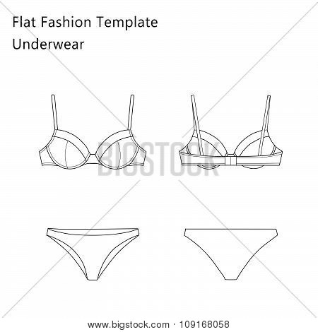 Fashion Flat templates Sketches - Woman Underwear