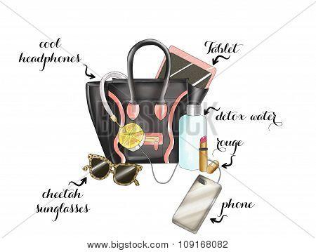 Watercolor Hand drawn fashion Illustration - black fashion bag with various items