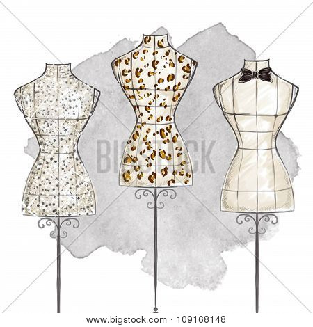 hand draw Fashion Illustration watercolor - mannequins