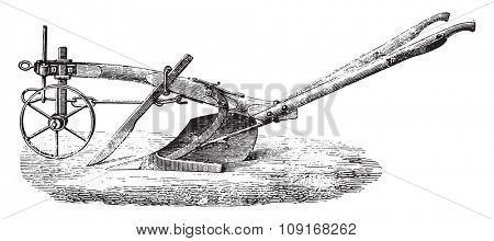 New Plough Meixmoron, Dombasle, vintage engraved illustration. Industrial encyclopedia E.-O. Lami - 1875.