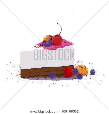 sweet piece of cake with fruits