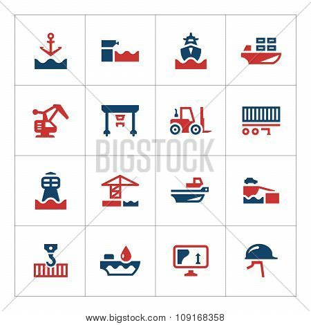 Set Color Icons Of Seaport