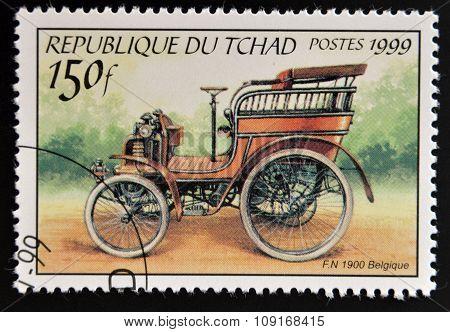 CHAD - CIRCA 1999: stamp printed in Chad shows retro car circa 1999.