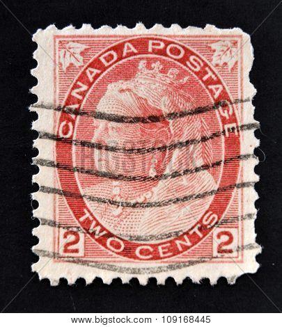 CANADA - CIRCA 1897: A stamp printed in the Canada shows Queen Victoria Queen of England circa 1897