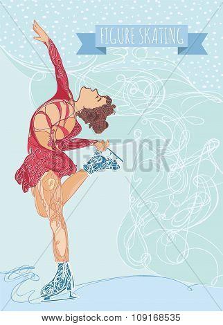 Vector Illustration With Figure Ice Skater. Flat Design