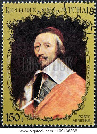 CHAD - CIRCA 1972: A stamp printed in Chad shows Cardinal Richelieu by Champaigne circa 1972
