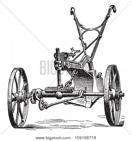 End view of the plow to limber Eckert, vintage engraved illustration. Industrial encyclopedia E.-O. Lami - 1875.
