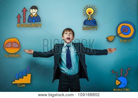Teen boy screaming spread his arms in hand looking up a collecti