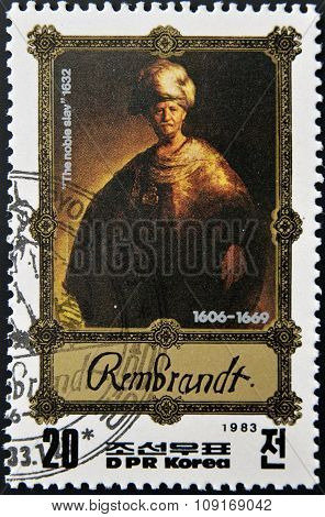 DPR KOREA - CIRCA 1983: A stamp printed in North Korea shows Rembrandt painting