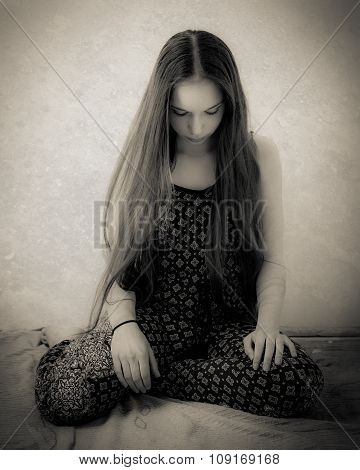 Teenage Girl With Extremely Long Hair In Black And White