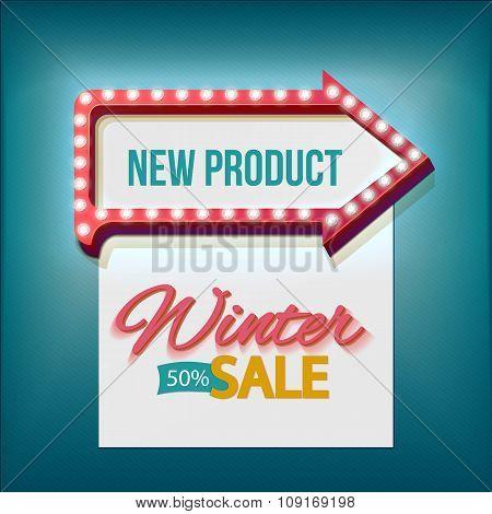 Volume retro arrow with Winter sale