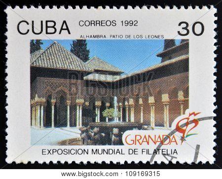 CUBA - CIRCA 1982: A stamp printed in Cuba shows Alhambra Spain circa 1982