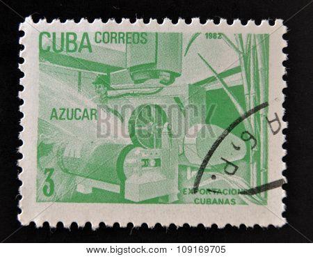CUBA - CIRCA 1982: a stamp printed in Cuba dedicated to Cuban export products shows sugar circa 1982