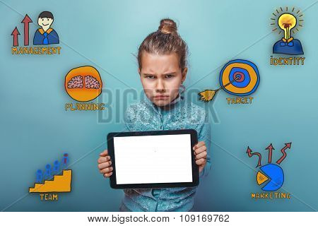 teen girl frowned and holds the tablet in the hands of a collect