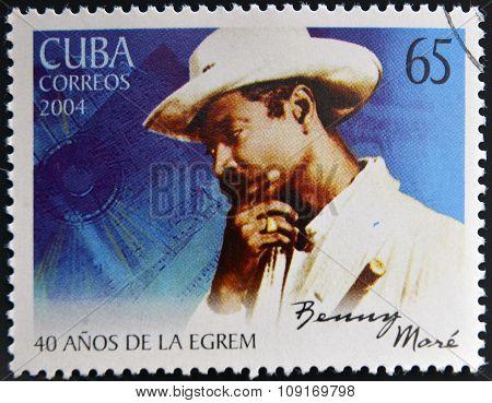 CUBA - CIRCA 2004: A stamp printed in cuba shows Benny More circa 2004